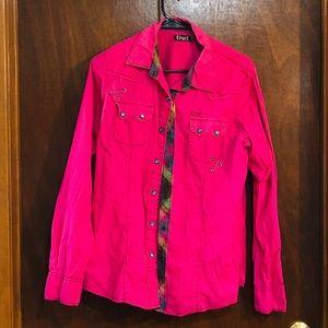 Plus size XL Cruel pink snap front shirt.